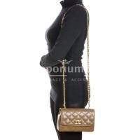 Borsa a spalla da donna in vera pelle CHARLOTTE MINI, colore TAUPE, DELIA REI, MADE IN ITALY