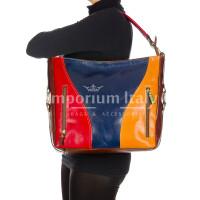 IRIS : borsa donna a spalla in cuoio, colore : MULTICOLOR, Made in Italy