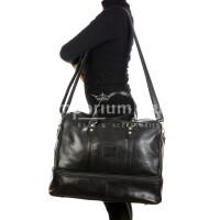 OMODEO : borsa da viaggio in cuoio, colore : NERO, Made in Italy