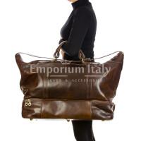 DANUBIO : borsa da viaggio in cuio, colore : TESTAMORO, Made in Italy