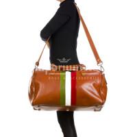 Borsone da viaggio in vero cuoio con tricolore italiano COMO SMALL, colore MARRONE, RINO DOLFI, MADE IN ITALY