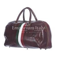 Borsone da viaggio in vero cuoio con tricolore italiano COMO SMALL, colore TESTA DI MORO, RINO DOLFI, MADE IN ITALY