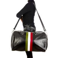 Borsone da viaggio in vero cuoio con tricolore italiano COMO MAXI, colore NERO, RINO DOLFI, MADE IN ITALY