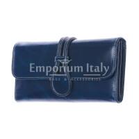 PRIMULA : portafoglio donna in pelle morbida cerata, colore : BLU, Made in Italy