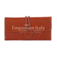 PRIMULA : portafogliodonna in pelle morbida cerata, colore: MARRONE, Made in Italy