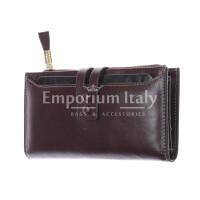 IRIS : portafoglio donna in pelle morbida cerata, colore :PRUGNA, Made in Italy