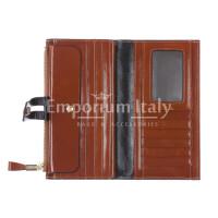 IRIS : portafoglio donna in pelle morbida cerata, colore : MARRONE, Made in Italy