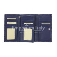 CAMELIA : portafoglio donna in cuoio, colore : BLU, Made in Italy