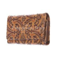 CAMELIA : portafoglio donna in cuoio, colore : MARRONE, Made in Italy