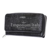 DALIA : portafoglio donna in pelle laccata, colore : NERO, Made in Italy
