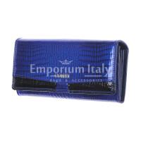 DAFNE : portafoglio donna in pelle laccata, colore : BLU / NERO, Made in Italy