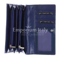 DAFNE : portafoglio donna pelle laccata, colore : BLU, Made in Italy