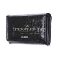 Lilia : portafoglio donna in pelle laccata, colore : NERO, Made in Italy