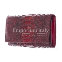 GIRASOLE : portafoglio donna in pelle di pitone, colore : ROSSO, Made in Italy