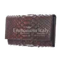 Portafoglio donna in pelle di pitone GIACINTO, certificato  CITES, colore MARRONE, SANTINI, MADE IN ITALY