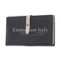 ABELIA : portafoglio donna, pelle morbida, super sottile, colore: NERO / BEIGE, Made in Italy