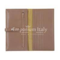 ABELIA : portafoglio donna, pelle morbida, super sottile, colore : GIALLO / TAUPE, Made in Italy