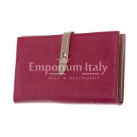 ABELIA : portafoglio donna, pelle morbida, super sottile, colore : ROSSO / TAUPE, Made in Italy