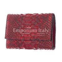 Portafoglio da donna in vera pelle di pitone GERBERA, certificata CITES, colore ROSSO, SANTINI, MADE IN ITALY