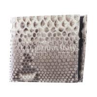 EGITTO: portafoglio uomo in pelle di pitone, colore: ROCCIA, Made in Italy