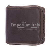 BENIN: portafoglioo uomo a zip in cuoio, colore: TESTAMORO, Made in Italy