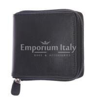 BENIN: portafoglio uomo a zip in cuoio, colore: NERO, Made in Italy
