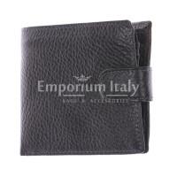 AREZZO: portafoglio uomo in pelle morbida, colore: NERO, Made in Italy
