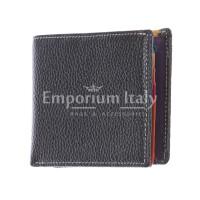 SLOVACCHIA MINI: мужской кошелек, средний размер, цвет: ЧЕРНЫЙ-МУЛЬТИКОЛОР, сделано в Италии