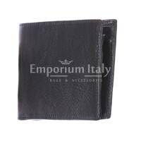 TRENTO: portafoglio uomo, in cuoio italiano, colore: NERO, Made in Italy