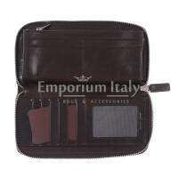 PARAGUAY: maxi portafoglio uomo in cuoio, colore: TESTA MORO, Made in Italy