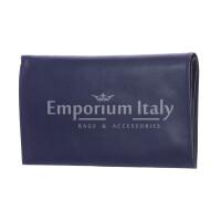 CONGO: мужской кожаный кошелек макси, цвет: СИНИЙ, сделано в Италии