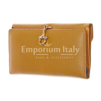 Genuine leather wallet for woman MIMOSA MAXI, YELLOW colour, SANTINI, MADE IN ITALY