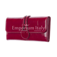 PRIMULA : portafoglio donna in pelle morbida cerata, colore : FUXIA SCURO, Made in Italy