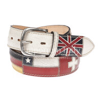 BRISIGHELLA: cintura uomo in vera pelle, bandiere multinazioni, colore : BIANCO / MULTICOLOR, Made in Italy