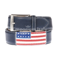WASHINGTON: men's leather belt, flags, color: BLUE / MUTICOLOR, Made in Italy