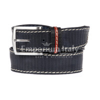 PAVIA: cintura uomo in cuoio stampato, colore: BLU Made in Italy