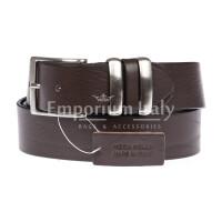 TREVISO: cintura uomo in cuoio, colore: TESTAMORO, Made in Italy