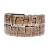 CREMONA: cintura uomo in pelle stampata coccodrillo, colore: MARRONE, Made in Italy