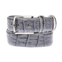 CREMONA: cintura uomo in pelle stampata coccodrillo, colore: GRIGIO, Made in Italy