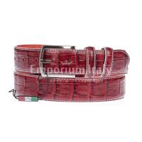 CREMONA: cintura uomo in pelle stampata coccodrillo, colore: ROSSO, Made in Italy