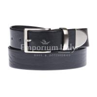 FIUMICINO: cintura uomo in cuoio, colore: NERO, Made in Italy