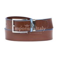 PORDENONE: cintura uomo in cuoio, bordo azzurro, colore: MARRONE / AZZURRO, Made in Italy