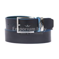 PORDENONE: cintura uomo in cuoio, bordo azzurro, colore: NERO, Made in Italy