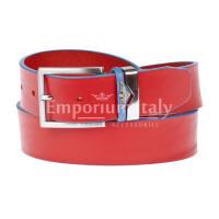 PORDENONE: cintura uomo in cuoio, bordo azzurro, colore: ROSSO, Made in Italy