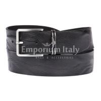 AQUILA: cintura uomo in cuoio, effetto drappeggio, colore : NERO, Made in Italy