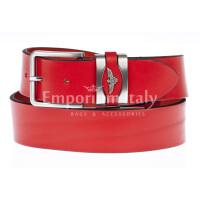 PORTLAND MEDIUM: cintura uomo / donna in cuoio, altezza 3 cm, colore: ROSSO, Made in Italy