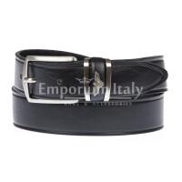 PORTLAND MEDIUM: cintura uomo / donna in cuoio, altezza 3 cm, colore: NERO, Made in Italy