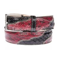 LAGOS: cintura uomo in pitone, certificato CITES, colore: ROSSO / NERO, Made in Italy