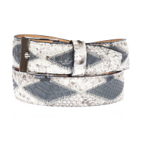BRUXELLES: cintura uomo in pitone, bicolore a rombi, certificato CITES, colore: ROCCIA / BLU, Made in Italy
