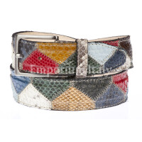 Cintura uomo/donna PRAGA C15, pitone certificato CITES, MULTICOLOR, Rino Dolfi, Made in Italy